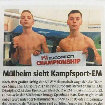Presse: K1 EM 2017 in Mülheim, Muay Thai Duisburg e.V.