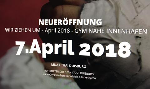 Neueröffnung 2018 Muay Thai Duisburg-Gym jetzt nähe Innenhafen